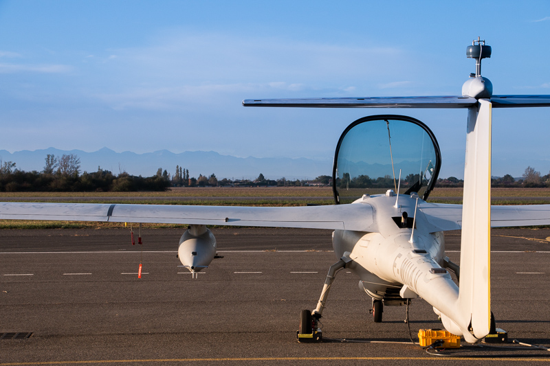 Patroller in front of Pyrenees mountains, in Muret airfield.
